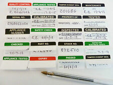 Write & Seal Tamper Evident,  Passed, Tested, Electrical & Calibrated Labels