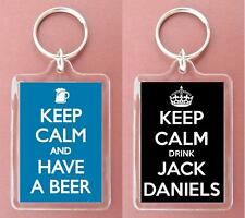 KEEP CALM DRINK JACK DANIELS/AND HAVE A BEER KEYRING GIFT/PRESENT