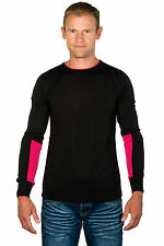 Ugholin Pull Homme Fin Col Rond Willy Noir/Fushia Manches Longues