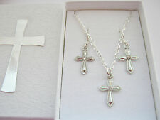 First Holy Communion Cross Necklace Earrings Set Girls Holy Confirmation Gifts