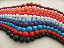 8mm 10mm 12mm 14mm  16mm 20mm Pastel Solid Coloured Round Beads 10 Colours