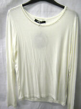 SALE ladies cream long sleeved top with pearl decoration