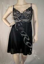 WOMENS SLEEPWEAR LINGERIE SEXY SHORT BLACK NIGHTIE WITH SILVER LACE BODICE
