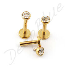 Labret Internal Thread GOLD ANODISED 3mm CLEAR GEM Lip Tragus Bar  CHOOSE SIZE