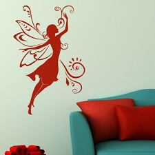 Fairy Woman Fairy Wall Sticker / Girls Room Decal Art / Angel Wall Transfer WO6