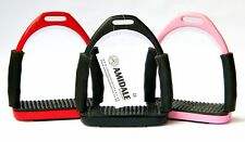 FLEXI SAFETY FOUR WAY STIRRUPS HORSE RIDING BENDY IRONS STAINLESS STEEL AMIDALE