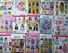 """Sewing Patterns 18"""" American Girl  Doll & 11'' To 16"""" Baby Doll clothes Gowns"""