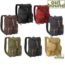 NEW VINTAGE MILITARY CANVAS BACKPACK RUCKSACK DAYPACK LEATHER STRAPS