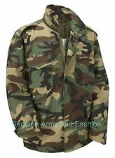 M65 US FIELD JACKET QUILT LINER VINTAGE MILITARY ARMY COMBAT COAT WOODLAND CAMO