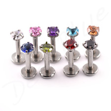 Steel Labret CZ 'ROUND' CLAW SET 3mm STONE Internal Thread  lip Tragus Bar Stud