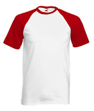 T-shirt BASEBALL Uomo Bianca/Rossa FRUIT OF THE LOOM Originale 610260 Bicolore