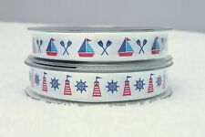 Berisfords Boats or Lighthouse Ribbon 1 3 5 or 10 metres