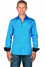 Ugholin - Chemise Homme Coton Easy Iron Unie Bleue Turquoise Manches Longues