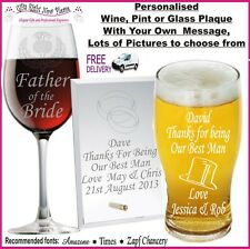 Personalised Glass Wedding Gifts Present Best Man Usher Father of the Groom Gift