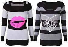 WOMENS BLACK STRIPED HEART LIPS PRINT JUMPER LADIES NEW KNITTED LONG SLEEVE TOP