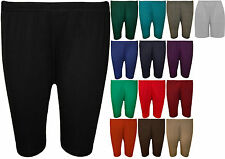 New Womens Plus Size Plain Elasticated Knee Ladies Stretch Cycling Shorts 16-26
