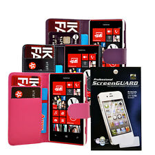 PU LEATHER WALLET FLIP PHONE CASE COVER + Screen Protector FOR NOKIA LUMIA 720
