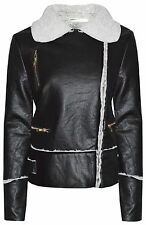 Womens Ladies Black Biker Faux Leather Look Fur Collar Zip Crop Jacket Coat Size