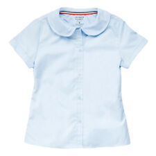 Girls Light Blue Blouse Peter Pan Collar Short Sleeve French Toast Sizes 4 to 20