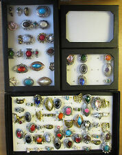 1 - 6 Ring Boxes Tray  Display Storage Holder With Lids 12 36 or 100 Rings Slots