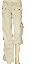 FREEMAN Pantalon pantacourt toile large UNITED beige femme taille 30 US 40 FR