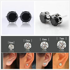 18k White Gold Plated Black Round Cubic Zirconia Cz Stud Earrings Men Women Gift