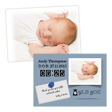 Personalised baby announcements BABY ANNOUNCEMENT FRAME BOY FREE ENVELOPES & DRA