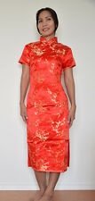 Robe Jupe Qipao Chinoise Neuve Rouge - Tailles 36 et 38