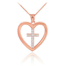 14K Rose Gold Open Heart with Enclosed Cross in the Heart Pendant Necklace