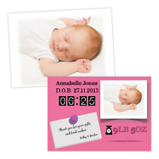 Personalised baby announcements BABY ANNOUNCEMENT FRAME GIRL FREE ENVELOPES & DR
