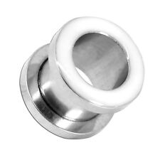 1x o set flesh dilatatori tunnel ear plug piercing bianco argento 2-16 mm