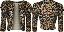 New Womens Animal Print Button Shrug Ladies Cardigan Tiger Print Sleeve Top 8-14