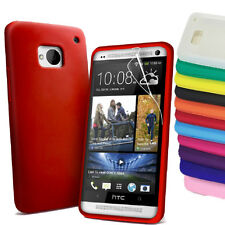 Plain Grip Soft Silicone Rubber Gel Skin Back Case Cover for HTC ONE M7