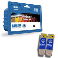 2 PACK COMPATIBLE KODAK 10B BLACK INK CARTRIDGES FOR EASYSHARE ESP HERO PRINTERS