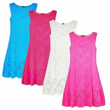 GIRLS LACE DRESS KIDS PARTY SUMMER CASUAL FITTED TOP FLOWER DRESS 1-10 YEARS