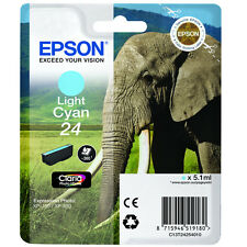 GENUINE EPSON ELEPHANT SERIES LIGHT CYAN INK CARTRIDGE / EPSON 24 / C13T24254010