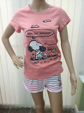 LADIES SNOOPY AND WOODSTOCK SHORTIE COTTON PYJAMAS 2 COLOURS SIZES 6-22 RRP £18