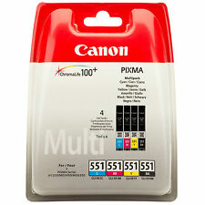 GENUINE OEM CANON PIXMA CLI-551 BK/C/M/Y MULTIPACK OF 4 PRINTER INK CARTRIDGES
