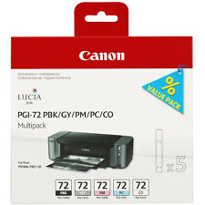 GENUINE OEM CANON PIXMA PGI-72 PBK/GY/PM/PC/CO MULTIPACK OF 5 INK CARTRIDGES
