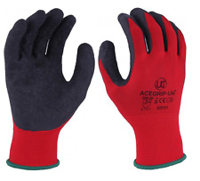 10 x UCI AceGrip-Lite Work Grip Gloves Hand Protection Latex Palm - Red / Black