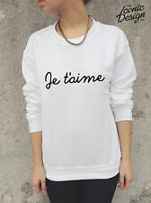 * Je T'aime Jumper Sweater Top French Vogue Paris Tumblr Sweatshirt I Love You *