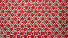 Red Floral Lace Wedding Craft Dress Fabric FREE P+P VARIOUS COLOURS AVAILABLE