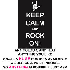 KEEP CALM POSTER LARGE  /& SMALL CUPPA PROFESSIONAL PRINT ANY TEXT COLOUR THEME