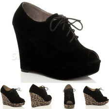 Womens ladies high platfrom wedges peeptoe lace up shoes size 5 38