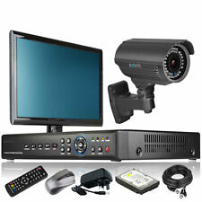 1 x Optical Zoom Camera HD-MI 4 CH DVR CCTV Kit iPhone DIY Complete with Monitor
