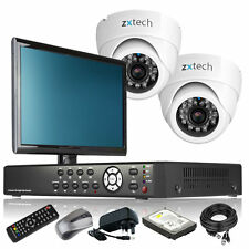 2 x Day Night Camera HD-MI 4 CH DVR CCTV Complete Kit Live Viewing with Monitor