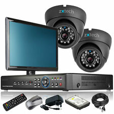 2 x Outdoor Colour Camera HD-MI 4 CH DVR CCTV Package Home & Business Monitor 3G