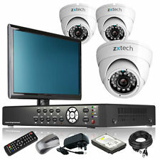 3 x Professional Camera Full 960H 4 CH DVR CCTV System iPhone Viewing + Monitor