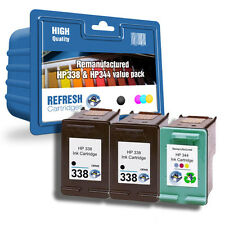 REMANUFACTURED HP 338 BLACK & HP 344 COLOUR- 3 INK CARTRIDGE EVERYDAY VALUE PACK