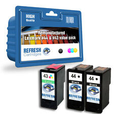 3 REMANUFACTURED LEXMARK INK CARTRIDGES BLACK 44 COLOUR 43 - EVERY DAY VALUEPACK